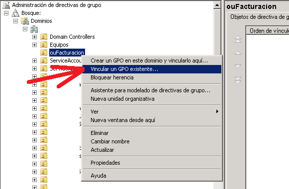 Asignar/Vincular directiva de grupo a Unidad Organizativa