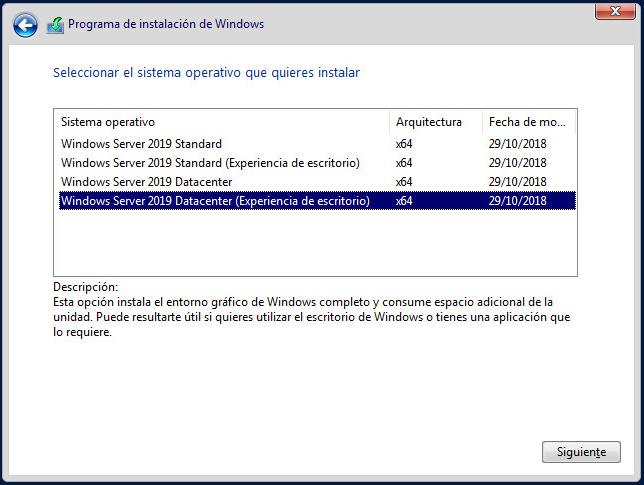 Instalar Windows Server 2019