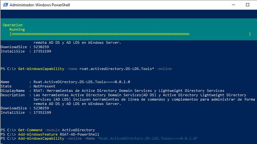 Instalar módulo ActiveDirectory en PowerShell en equipos Windows 10