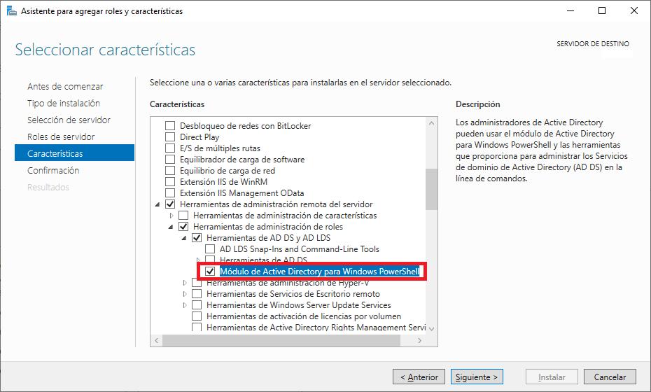 Instalar módulo ActiveDirectory en PowerShell en equipos Windows Server 2008 2012 2016 2019