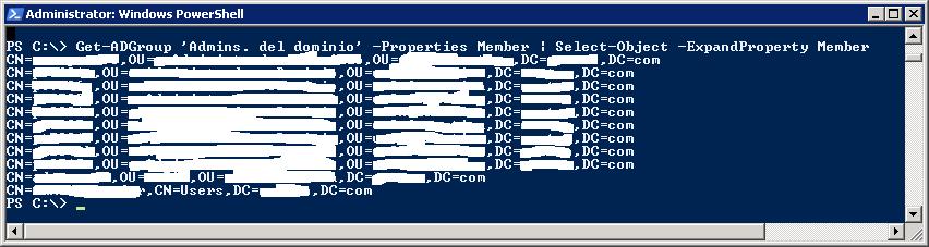 Listar por consola los usuarios pertenecientes a un grupo de seguridad en Windows Server con PowerShell