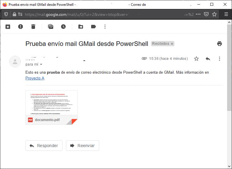 Script PowerShell para enviar un correo electrónico con fichero adjunto