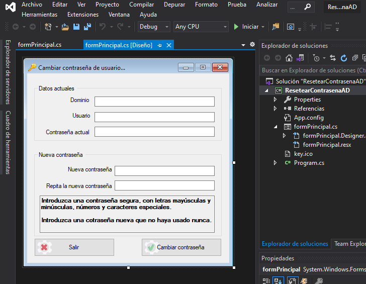 Aplicación C# para cambiar la contraseña de un usuario en dominio Active Directory LDAP