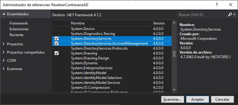 Crear solución C# C Sharp en Visual Stduio .Net para cambio de contraseña de un usuario LDAP Active Directory