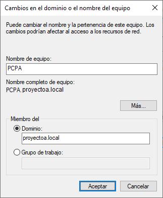 La aplicación Resetear/Restablecer contraseña Active Directory en funcionamiento