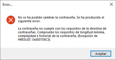 Algunos errores al restablecer/cambiar la contraseña de un usuario LDAP Active Directory