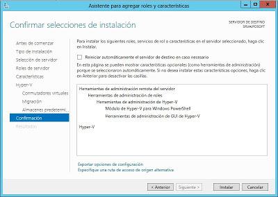 Instalar rol Hyper-V en Microsoft Windows Server 2012