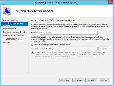 Agregar nueva máquina virtual a Hyper-V en Windows Server 2012