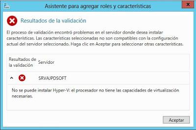 """Solución al error """"No se puede instalar Hyper-V: ya hay un hipervisor en ejecución"""""""