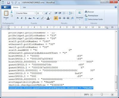 Modificar propiedades de configuración de fichero vmx en ESX