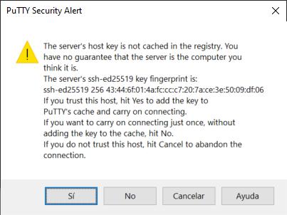 Acceso con el cliente SSH PuTTY a Linux Ubuntu 20.40 desde equipo Windows