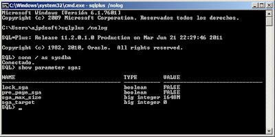 Mostrar y cambiar parámetros de Oracle Database como sga_max_size y sga_target
