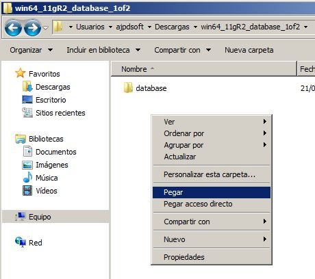 CD o ficheros de instalación de Oracle Database 11g Release 2 x64