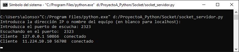 Ejecutar cliente y conectar con servidor por socket para recibir mensaje de texto con Python