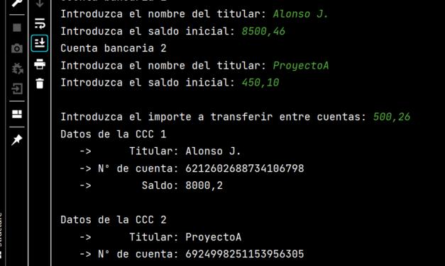 Ejercicio Java de ejemplo de POO con clases, métodos e instanciación de cuenta bancaria