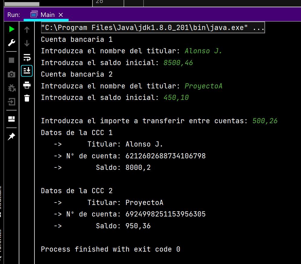 Resultado de la ejecución de la aplicación Java