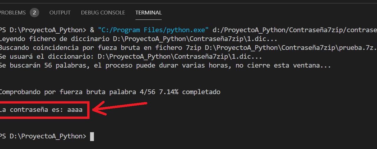 Ejemplo en Python para obtener contraseña de fichero 7zip por fuerza bruta leyendo diccionario