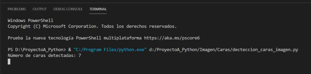 Ejemplo de uso del programa Python para detectar caras