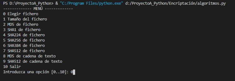 Ejecutar programa algoritmos.py que obtiene el hash MD5 y SHA de ficheros y cadenas de texto