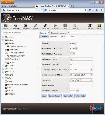 Configuración global de FreeNAS