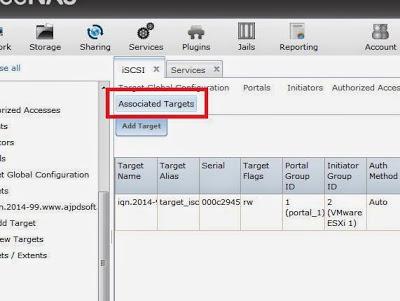 Configuración y activación de servicio iSCSI en SAN FreeNAS