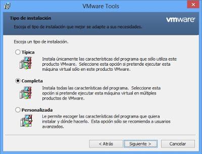 Instalar VMware Tools en máquina virtual con Windows 8