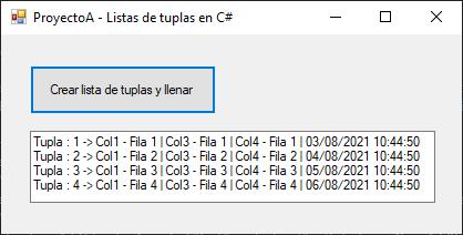 Lista de tuplas en C#