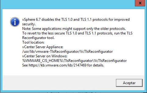 Actualizar VMware vCenter Server de la 6.0 ó 6.5 a la 6.7 para disponer del cliente web HTML5