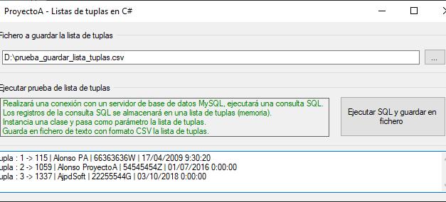 ProyectoA Lista de tuplas y acceso a MySQL en CSharp