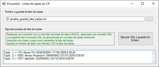Guardar registros de consulta SQL de tabla de base de datos en memoria en una lista de tuplas y en fichero CSV con C#