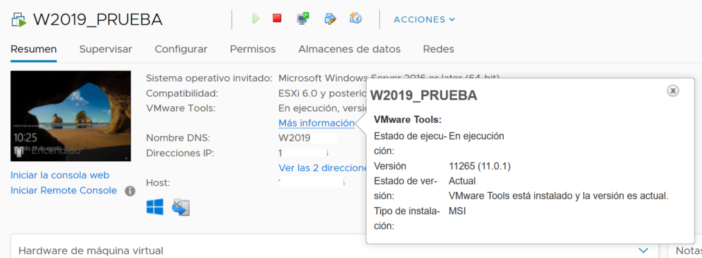 Actualizar VMware Tools 11 en MV de ESXi 6.7 y vCenter 6.7 de equipos W2008, W2012 W2019 W10