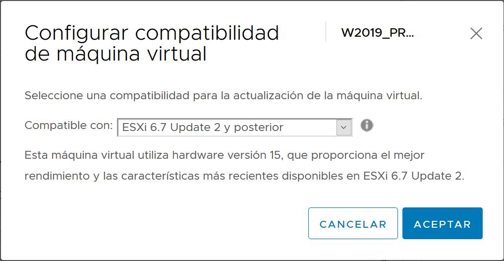 Actualizar Virtual Hardware 15 de todas las máquinas virtuales