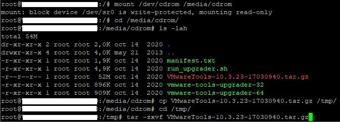Actualizar/Instalar las VMware Tools desde CD/DVD montado en Linux Ubuntu Server