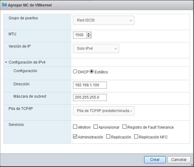 Agregar conmutador virtual (switch) y red interna para iSCSI en ESXi