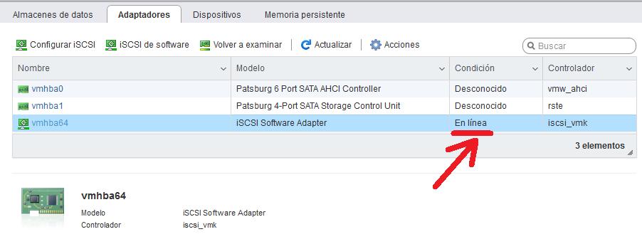 Activar uso de adaptador iSCSI en ESXi