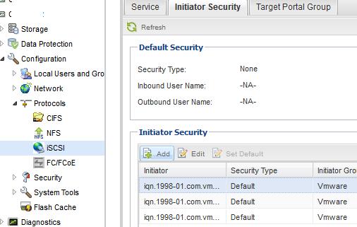 Agregar iniciadores iSCSI en SAN NetAPP