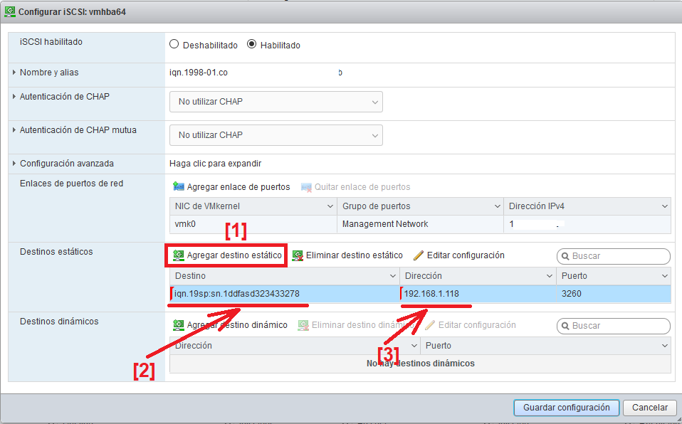 Conectar SAN NetApp a entorno de virtualización VMware ESXi 6.7 por iSCSI