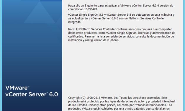 Actualizar VMware vCenter Server de la versión 5.5 a la versión 6.0