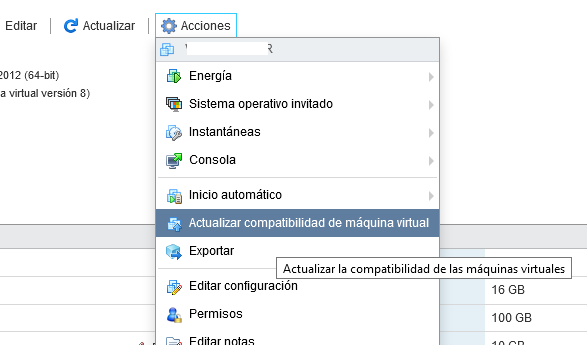 Actualizar las VMware Tools y el hardware virtual de cada máquina virtual