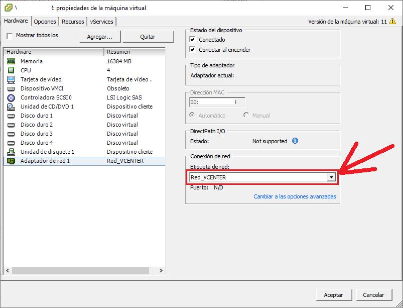 Revisar red fuera de los VDS para el vCenter y para establecer a las MV antes de la migración