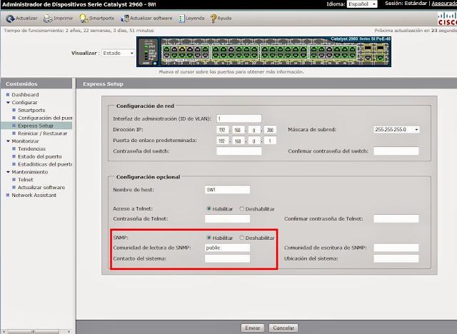 Habilitar protocolo SNMP en switch Cisco para monitorización