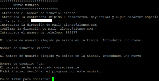 La aplicación Tienda Online Java RMI en funcionamiento