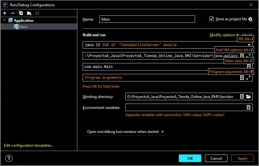 Compilar aplicaciones servidor y cliente para generar los .class