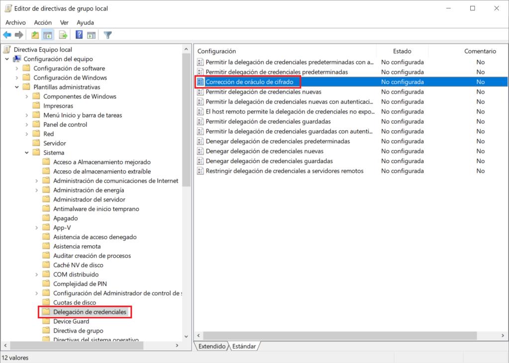 Solución al error de oráculo de cifrado CredSSP al conectar por RDP a un equipo Windows