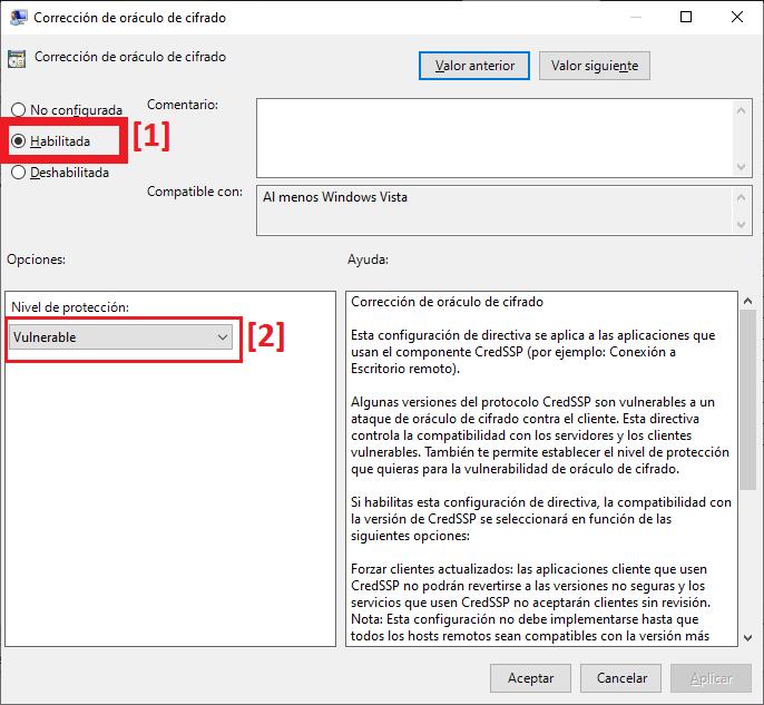 Solución al error de autenticación corrección de oráculo de cifrado CredSSP