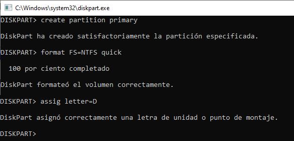 Crear una partición y un volumen en un disco duro con diskpart