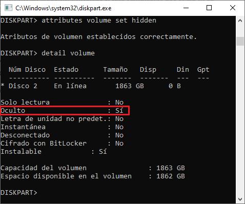 Trabajar con discos volúmenes y particiones con DiskPart en Windows