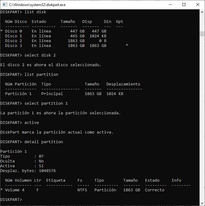 Acitvar/Desactivar partición con DiskPart