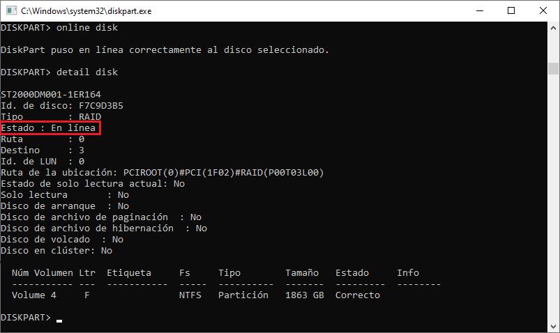 Poner En línea/Fuera de línea un disco duro con DiskPart