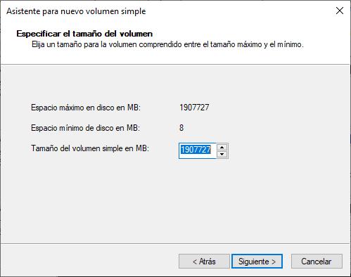 Crear volumen simple en disco duro dinámico